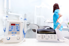 Equipment and dental instruments in dentist's office. Dentist at work Stock Photography