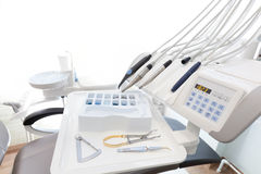Equipment and dental instruments in dentist's office. Dentistry Stock Image