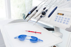 Equipment and dental instruments in dentist's office. Dentistry Stock Photos
