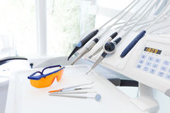 Equipment and dental instruments in dentist's office. Dentistry Stock Photography