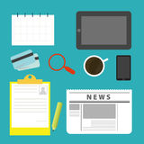 Equipment on the desks of business. Modern design flat icon vector collection concept in stylish colors of business workflow items and elements, office things Stock Images