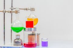 Equipment of distillation in laboratory experiments. In chemical blending Royalty Free Stock Image