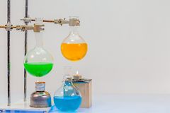 Equipment of distillation in laboratory experiments. In chemical blending Stock Photos
