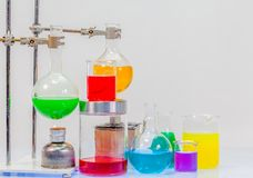 Equipment of distillation in laboratory experiments. In chemical blending Stock Image