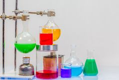 Equipment of distillation in laboratory experiments. In chemical blending Royalty Free Stock Photos