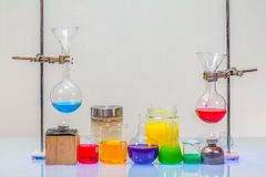 Equipment of distillation in laboratory experiments. In chemical blending Royalty Free Stock Photography