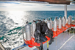 Equipment for divers on the boat,Cambodia. Stock Photos