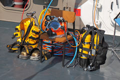 Equipment for diving on the deck of a ship Royalty Free Stock Photo