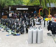 Equipment for diving and divers, Koh Nanguan, Thailand. Stock Photos