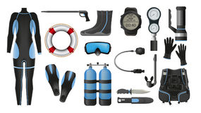 Equipment for diving. Scuba gear and accessories. Equipment for diving. Illustrations of diving suit, an underwater mask, spear gun, snorkel, fins, flashlight Stock Photography
