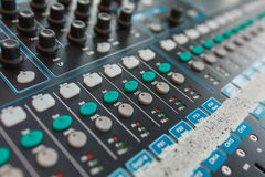 Equipment for DJ and musicians sound mixer. Royalty Free Stock Images
