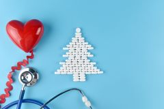 Equipment of doctor in Christmas theme. royalty free stock photo