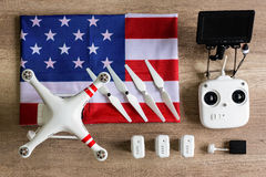 Equipment drone with American flag Royalty Free Stock Image