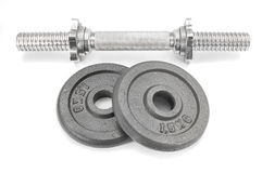 Equipment dumbbell weights on white background.  Stock Image