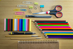 Equipment education art on background.on top view Royalty Free Stock Image