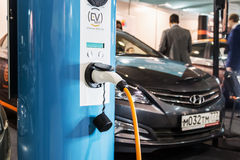 Equipment for electrical cars. Moscow, Russia, December 20, 2016: exhibits at the exhibition dedicated to the technologies connected Connected Car. Equipment for Stock Image