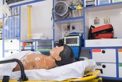 Equipment emergency ambulance vehicle with dummy Stock Image