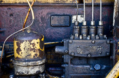 Equipment engine. Heavy equipment engine parts and wires Royalty Free Stock Images