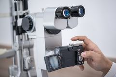 Equipment in the eye clinic. Doctor oculist at work. diagnostic ophthalmologic equipment. medicine concept royalty free stock photo
