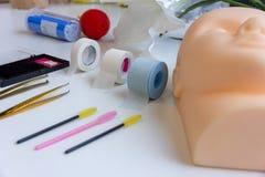 Equipment of eyelash extension stock photography