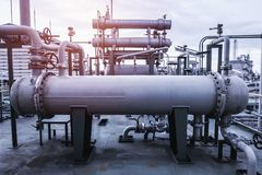 Equipment factory. Heat exchanger and pipeline in factory Royalty Free Stock Photography