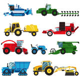 Equipment farm for agriculture machinery combine harvester vector. Royalty Free Stock Image