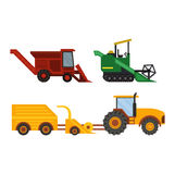 Equipment farm for agriculture machinery harvester. Agriculture industrial farm equipment, machinery tractors combines and excavators farm equipment, collection Stock Photos