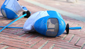 Equipment fencing mask and foil  after  the match Stock Image