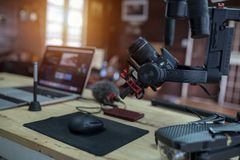 Equipment for Filming a movie or a video blog Drone Steadicam. Camera Stabilizer and laptop royalty free stock photography
