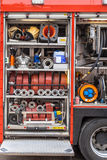 Equipment of a Fire Engine stock images