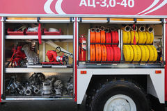 Equipment of fire truck Stock Image