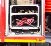 Equipment in a fire truck, close-up stock image