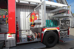 Equipment of fire truck Stock Images