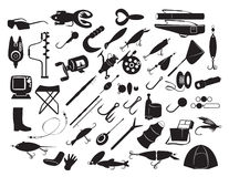 Equipment for fishing. The figure shows the equipment for fishing Stock Image