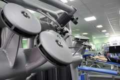 Equipment of fitness club stock photos