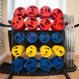 Equipment in fitness gym. Sport equipment in fitness gym Stock Photos