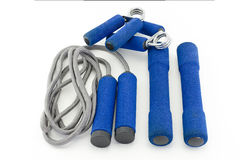 Equipment Fitness. Skipping rope ,Sport hand grip and Dumbbells with soft shell equipment isolated on white Stock Images