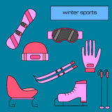 Equipment flat icons collection. Winter sports equipment flat icons collection Royalty Free Stock Image