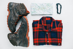 Equipment Flat Lay For Outdoor Adventure Royalty Free Stock Photos
