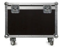 Equipment flight case with wheels. Photo of a isolated road case or flight case with reinforced metal corners and wheels. Clipping path included Royalty Free Stock Photography