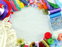 Equipment For Sewing Accessories For Handmade Sewing Kit Border Background With Copy Space Stock Photography