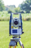Equipment for geodetic field measurements Stock Photo