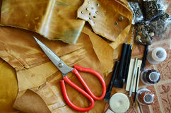 Equipment of Handmade leather local thai style royalty free stock photo