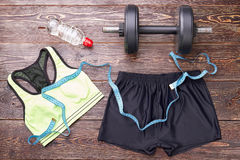 Equipment for heavy women physical training. Stock Image