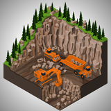 Equipment for high-mining industry. Vector isometric illustration of a mining quarry, heavy-duty dumper and a two types of mining tracked excavators. Equipment vector illustration