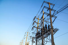 Equipment of high voltage electric and electric wire line on pol Stock Images
