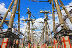 Equipment of high-voltage electric substation Royalty Free Stock Photography
