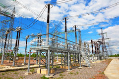 Equipment of high-voltage electric substation Royalty Free Stock Photos