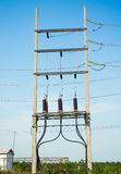 Equipment of high-voltage. 3-phase substation stock photo