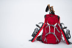 Equipment for a hike in the winter. Royalty Free Stock Images